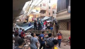 انهيار مبنى من 5 طوابق في مصر