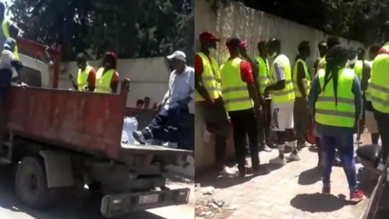 بالفيديو/ سكرة : مجموعة من الأفارقة ينفّذون حملة نظافة بالتعاون مع البلدية