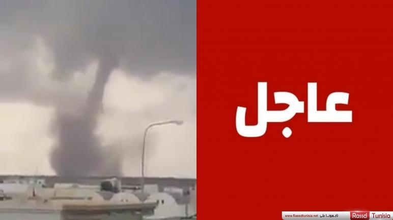 عاجل / بالفيديو : اعصار قمعي يقترب من جزيرة جربة منذ قليل
