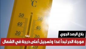 بداية من الغد : موجة حر شديدة تتواصل لمدة أسبوع و تسجيل أعلى درجة حرارة غدا في الشمال (التفاصيل)