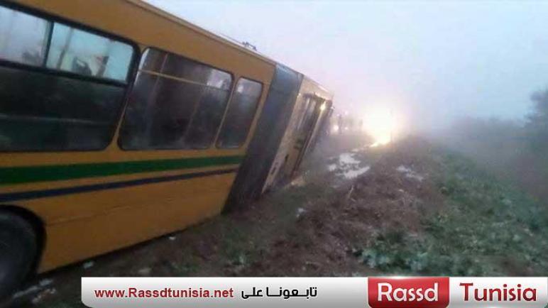 انزلاق حافلة على مستوى حي الرمانة يتسبب في اصابة 3 اطارات نقابية بجروح طفيفة